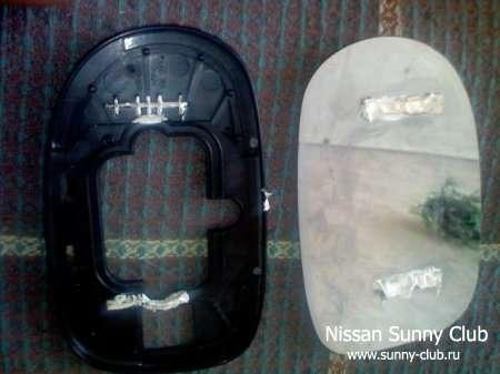 Подробный фотоотчет по установке обогрева зеркал на Sunny и Sylphy